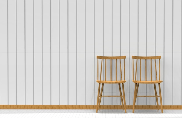Two chairs on the white wall. 3d rendering