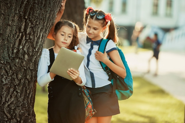 Two charming school-age girls stand by the tree near the school and play on the tablet.