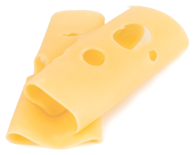 Two cheese slices isolated on white background.