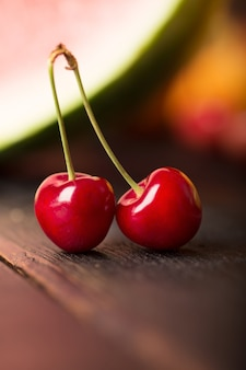 Two cherries and other fruits