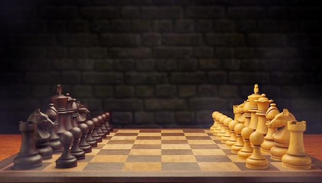 Две шахматные фигуры смотрят друг на друга в дымке на шахматной доске на фоне кирпичной стены. концепция борьбы с использованием бизнес-стратегий. скопируйте место наверху. 3d визуализация иллюстрации.