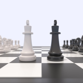 Two chess pieces on a chessboard. black and white kings facing each other.