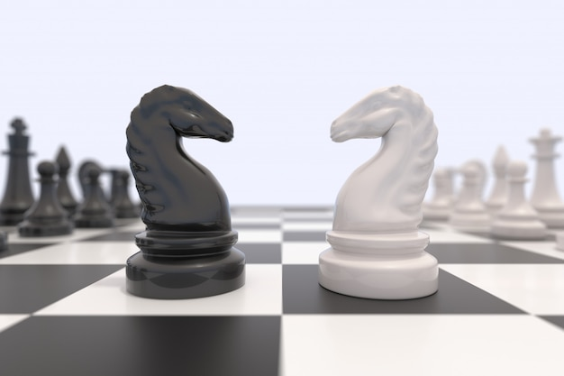Two chess pieces on a chessboard