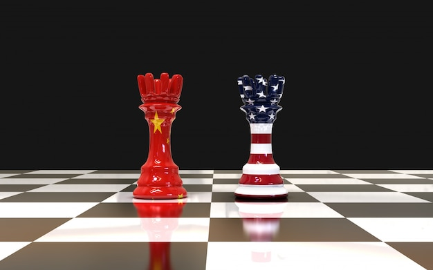 Two chess rook on chess board us and china flag
