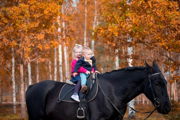 Двое детей, мальчик и девочка, верхом на черном коне, радуются веселым эмоциям