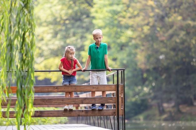 Двое детей мальчик и девочка, стоя на деревянной палубе на берегу озера