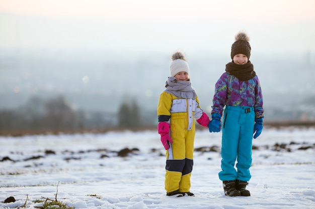 Two children brother and sister standing on snow covered winter field holding hands.