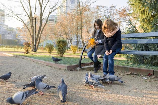 Двое детей девочки кормят птиц голубей в солнечный осенний день