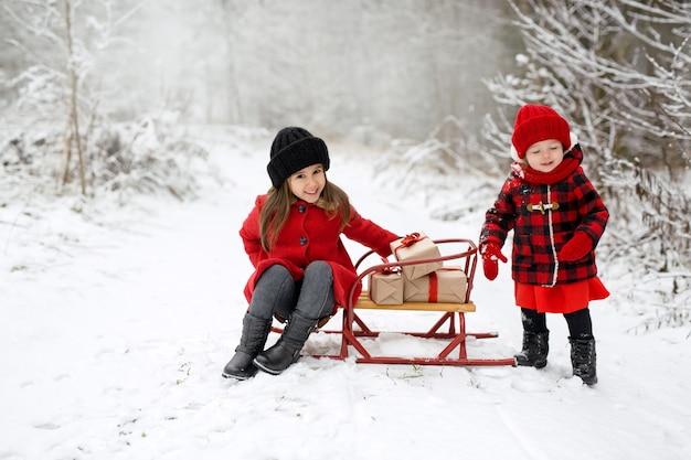 公園の2人の子供がクリスマスプレゼントを積んだそりに乗る