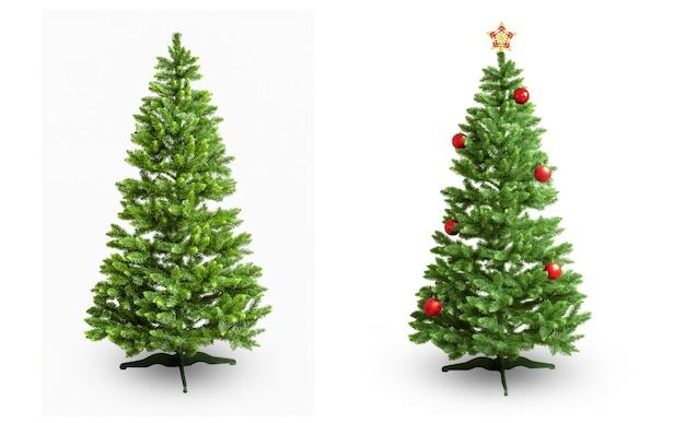 白い背景で隔離のクリスマスの飾りで飾られた2つのクリスマスツリー
