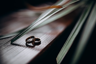 Two classy golden rings lie under green leaves on a wooden table