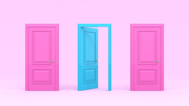 Two closed pink doors and one turquoise open door on a pastel pink wall