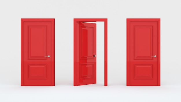 Two closed red doors and one open door isolated on a white wall
