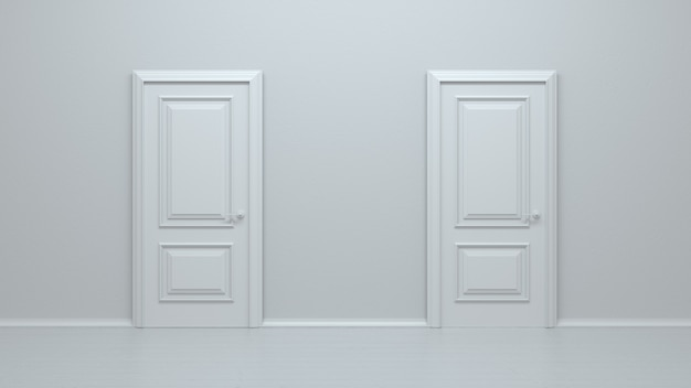 Two closed white realistic entrance doors on a white wall