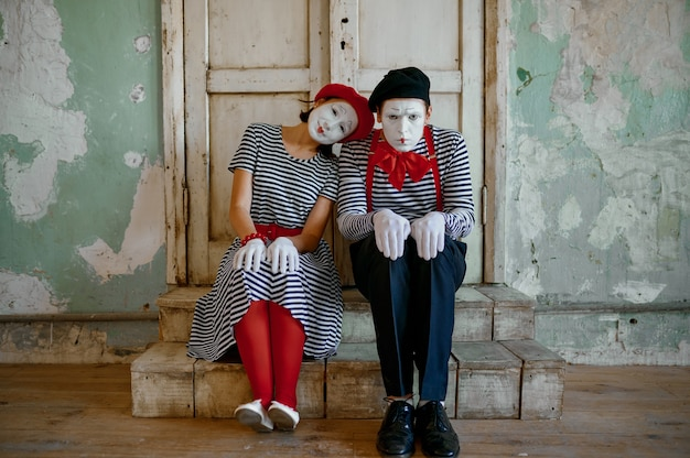 Two clowns, mime artists, parody comedy