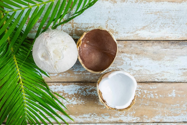 Two coconut and coconut leaves on wooden table