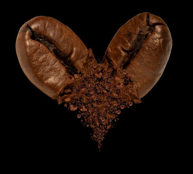 Two coffee beans splashing