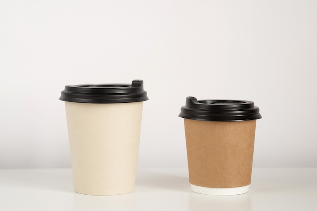 Two coffee cups mockup on white background