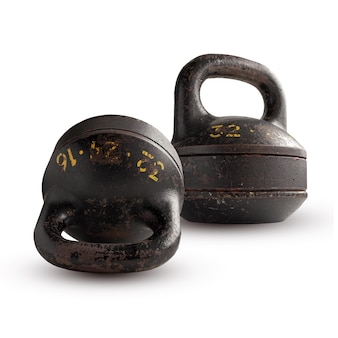 Two collapsible kettlebell, isolated on white background.