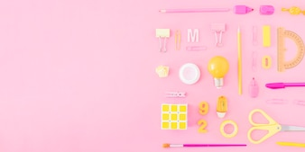 Two-colored school supplies composition