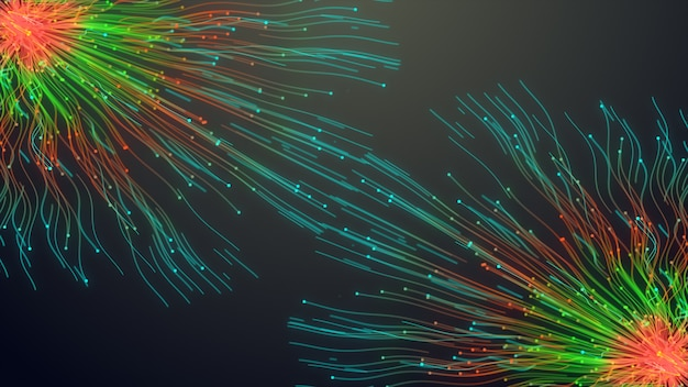 Two colorful particle line, glowing lines and light particles on dark animation