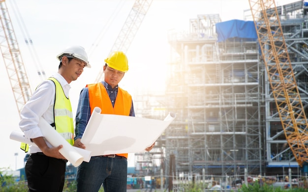 Two construction engineer working in construction site