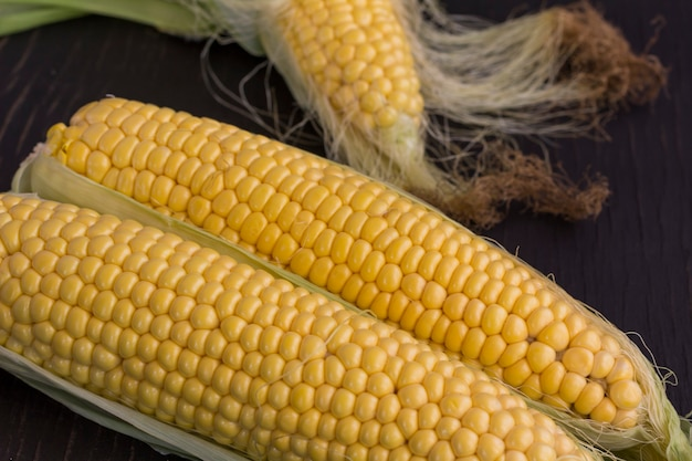 Два кукурузных початка с желтыми зернами на черном фоне