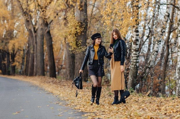 Two cozy young girls walk at autumn park road an make photos