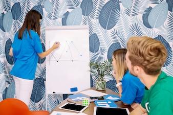 青いTシャツの描画図で女性を見て2つのクリエイティブエグゼクティブ