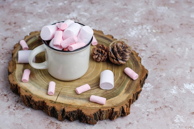 Two cup of hot chocolate with marshmallow on table