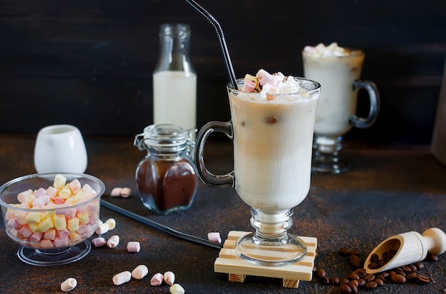 Two cup of iced coffee with milk