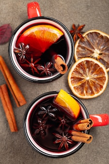 Two cups of autumn mulled wine or gluhwein.