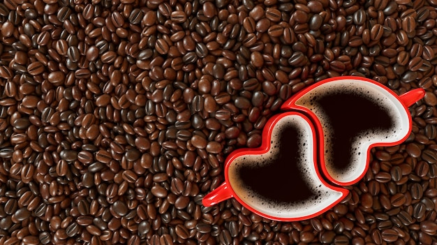 Two cups in the form of a heart on coffee beans. valentine's day, 3d rendering illustration.