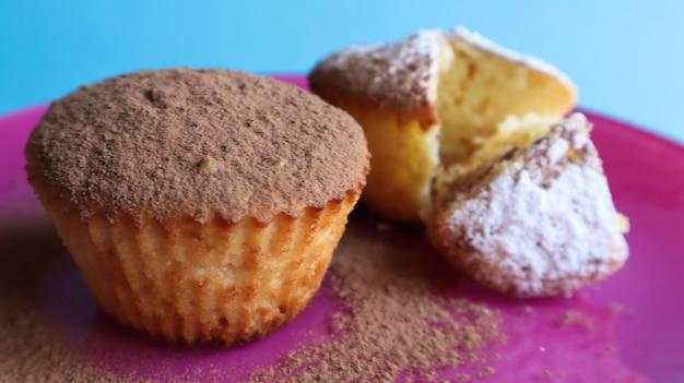 파란색 배경에 분홍색 접시에 초콜릿과 설탕을 뿌린 두 개의 두부 케이크. 디저트, 작은 컵케이크. 공기가 잘 통하는 질감의 흰색 구운 쿠키입니다. 음식 개념입니다.