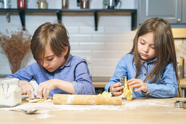Two cute children preparing cookies from the dough in the kitchen