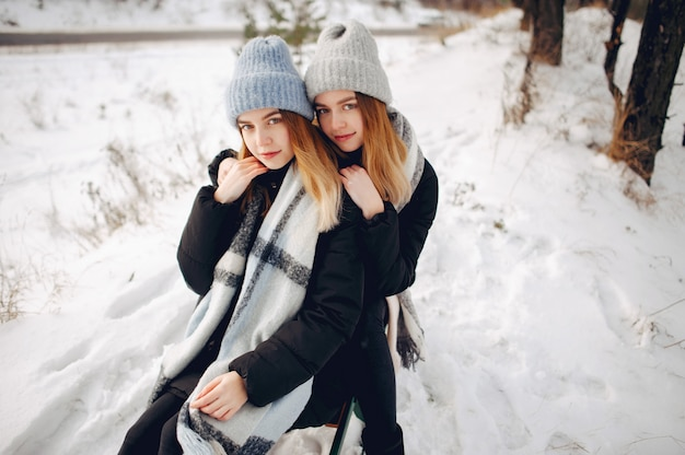 Two cute girls in a winter park