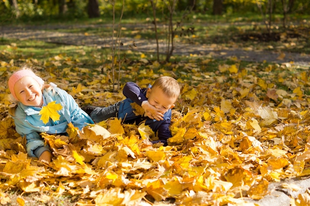 타락한 노란색 가을에서 노는 재미 두 귀여운 어린 아이들이 공원에서 나뭇잎