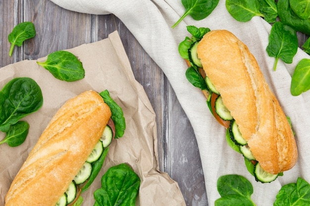 Two delicious sandwiches with spinach