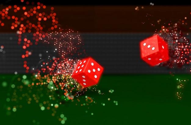 Il rendering 3d di dadi di rotolamento con la luce effetto bokeh