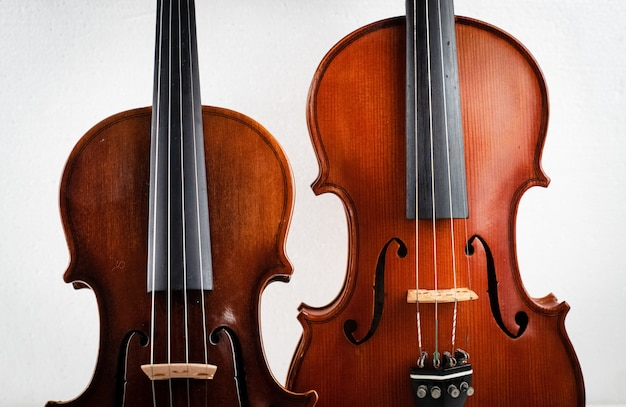 Two different size of violin put on background,show detail of front side,