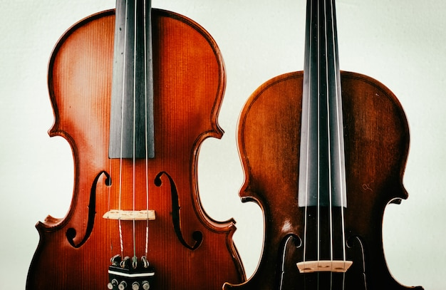 Two different size of violin put on background, show detail of front side,