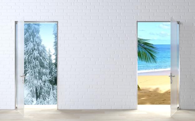 두 개의 문 개념 겨울과 여름