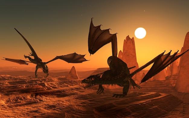 Due draghi al tramonto