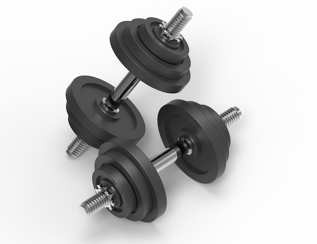 Two dumbbells on yellow background. 3d rendering illustrations.