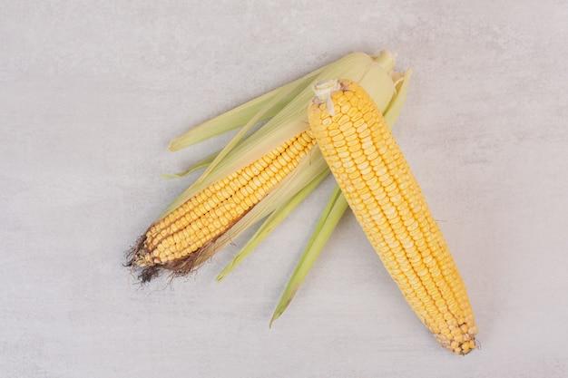 Due spighe di mais fresco su bianco.