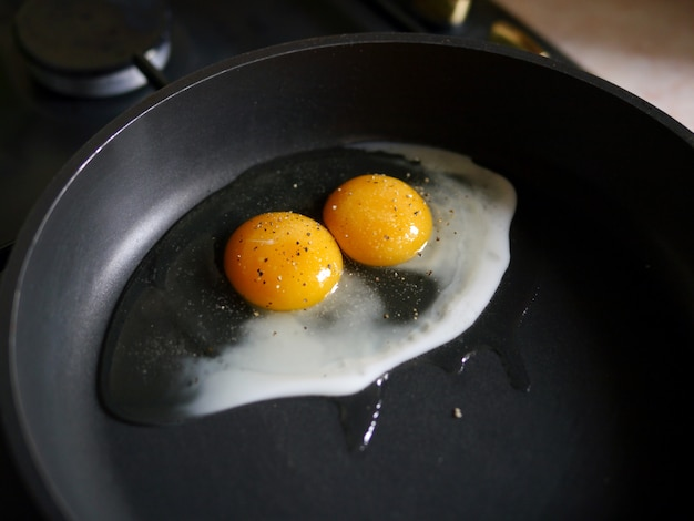 Two egg yolks in a pan