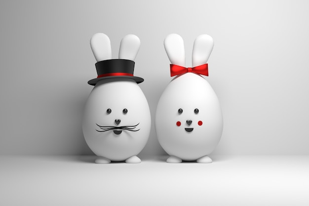 Two eggs characters with rabbit ears, red bow and hat