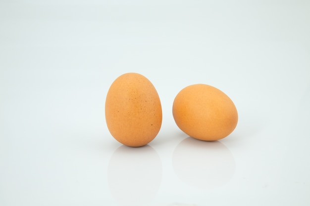 Two eggs, white background