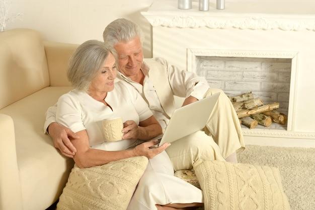 お茶とノートパソコンでソファの近くに座っている2人の高齢者