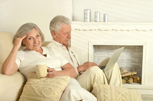 お茶とノートパソコンでソファに座っている2人の高齢者